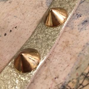 King Star Jewelry - King Star  studded leather bracelet gold color